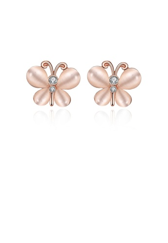 Glamorousky silver Elegant Plated Rose Gold Butterfly Opal Stud Earrings D76CFAC90C381BGS_1
