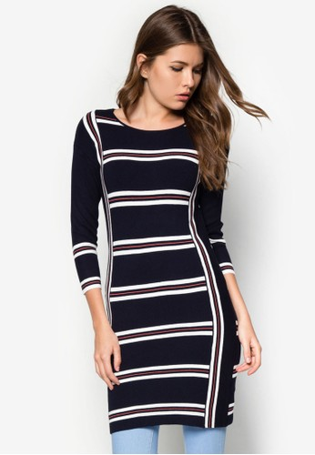 七分袖條紋長版上衣, 服飾,zalora taiwan 時尚購物網 上衣