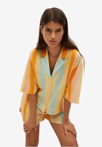 Mango yellow Printed Flowy Shirt F17B3AA773AC44GS_1