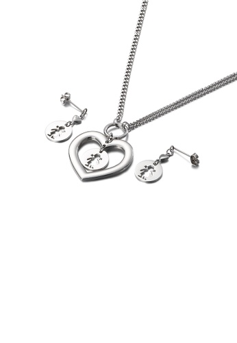 Glamorousky silver Simple and Fashion Hollow Girl Heart-shaped 316L Stainless Steel Necklace and Earrings Set D4F61ACEE65E49GS_1