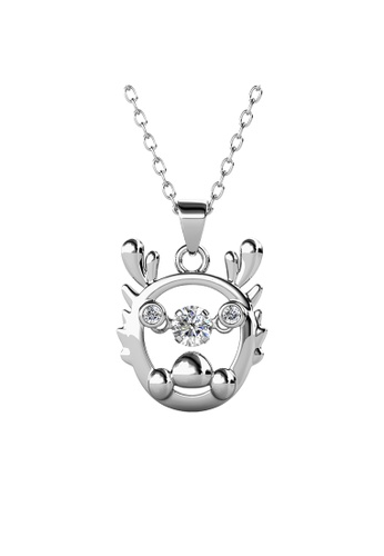 Her Jewellery silver 12 Dancing Zodiac Pendant (Dragon) WG - Made with premium grade crystals from Austria D5A7BAC28850C1GS_1