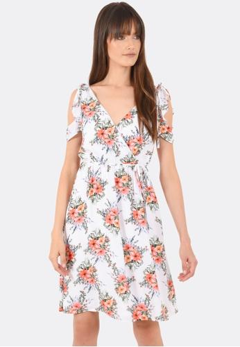 FORCAST white Milania Frill Wrap Dress FO347AA0GGE4SG_1