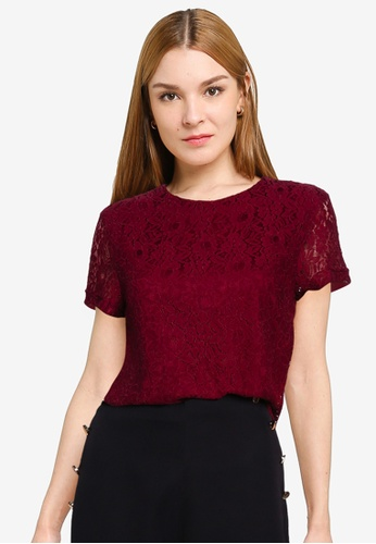 ZALORA OCCASION red Lace Boxy Top AD2D9AA57EEA1FGS_1