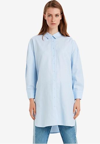 LC Waikiki blue Shirt Collar Figured Plain Tunic 92D6EAAF474E9EGS_1