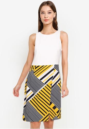 ZALORA WORK multi Asymmetric Contrast Dress 6F02FAA296D41BGS_1