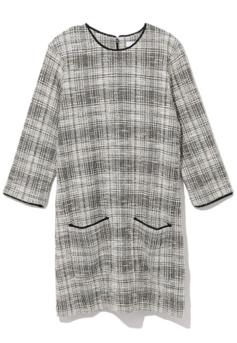 b+ab beige Plaid tweed dress 69EADAA06BA5CDGS_1