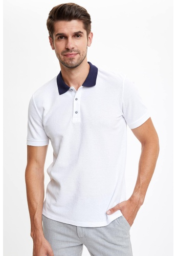 DeFacto white Man Knitted Polo T-Shirt E8FD9AADC6101BGS_1