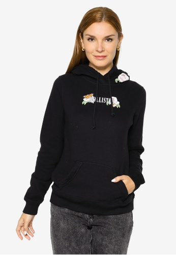 Hollister black Print Logo Popover Hoodie 34488AA5B82F2AGS_1