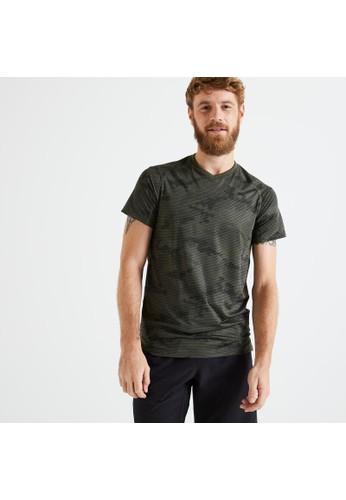 Decathlon Slim-Fit Fitness T-Shirt - Khaki/Black - 8606340 79292AA31BCF5CGS_1