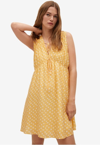 Mango yellow Flowy Printed Dress 2A55BAA17D43CCGS_1