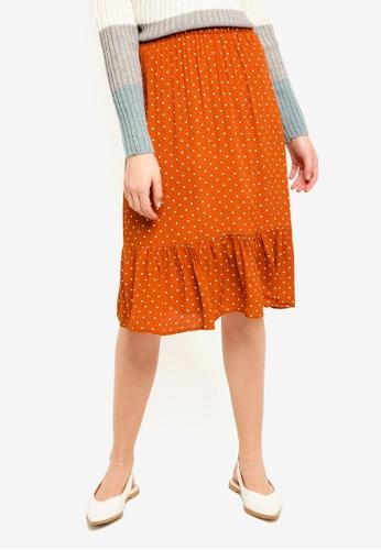 ICHI brown Brick Skirt 04CCFAA9591DB9GS_1