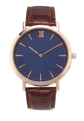 NUVEAU brown Round Face Gold Blue/Brown Strap Watch B9814ACD93DB7CGS_1