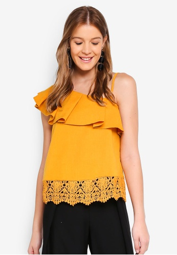 Angeleye yellow One Shoulder Lace Top B3BC3AA9E6993BGS_1