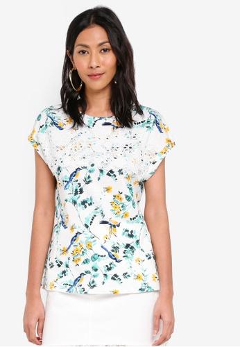 Dorothy Perkins 白色 Ivory Broiderie Yoke T-Shirt A0339AA14223FCGS_1