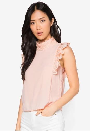蕾絲蓋袖esprit分店高領上衣, 服飾, 服飾
