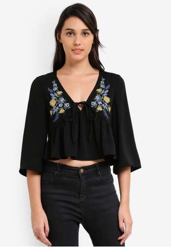 Something Borrowed black Embroidered Babydoll Top DED43AABBEADD6GS_1