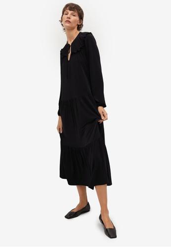Mango black Flowy Ruffled Dress EA73EAA2C49945GS_1