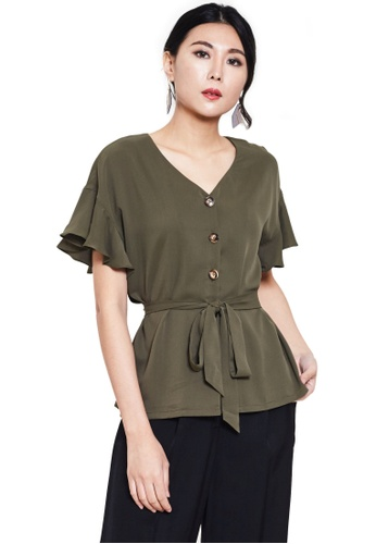 Nichii green Waist Tie Button Blouse 2220BAAC8ABD03GS_1