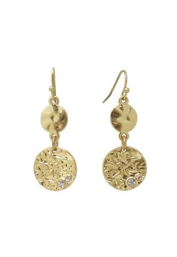 Jaysa Collection gold Twin Discs Dangle Earring JA875AC74PMJSG_1