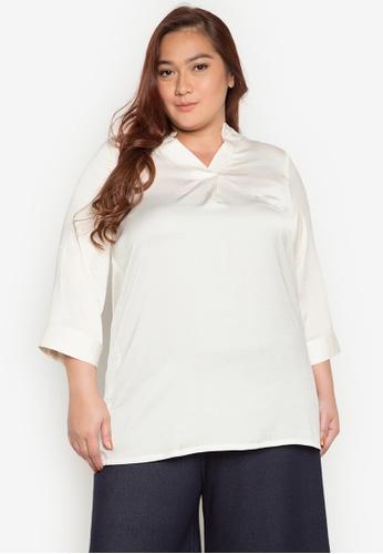 Lulu white Plus Size Brea 3/4 Sleeves Top LU439AA0JPRNPH_1
