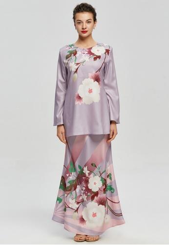 Era Maya white and pink and purple Romantic Pastel Sakura Floral Prints Baju Kurung Moden D2AEFAA75606AEGS_1