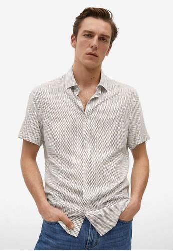 Mango Man white Printed Flowy Shirt 5B583AAE14D43DGS_1