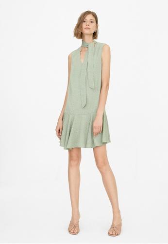 Pomelo green Neck Tie Polka Dot Dress - Green 77716AA0A81A81GS_1