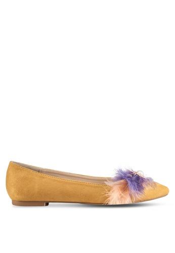ZALORA yellow Feather Embellished Ballerina Flats DD509SH8989097GS_1