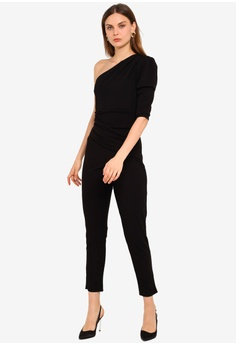 1e21036b6 Goddiva black One Shoulder Long Sleeve Jumpsuit 6C3F9AA88B8BD1GS_1