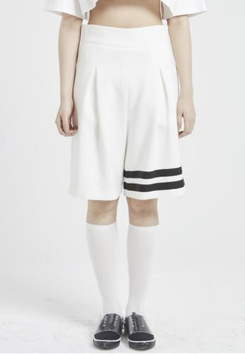 NINETEENEIGHTY white Color Contrast Hem Tape Pants NI195AA10XCFSG_1