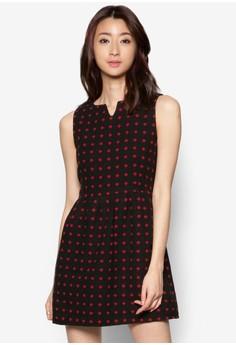 Polka Dot Pleated Wool Sleeveless Dress