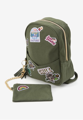 Justice multi Justice Girls Green Patch Mini Backpack & Wristlet FB697KC754383DGS_1