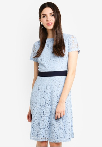 Dorothy Perkins blue Colour Block Lace Skater 74283AAFD848AFGS_1