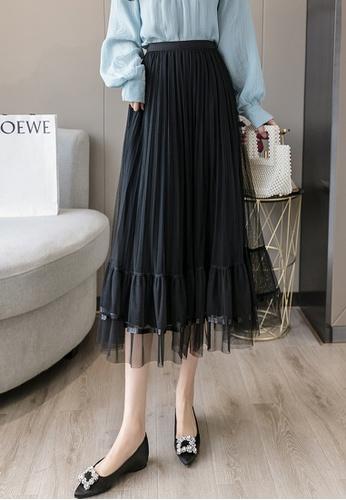Halo black Layered Net Yarn Pleated Skirt B454DAAEDFF7EBGS_1
