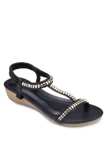 金飾彈性繞踝esprit 旺角楔型跟涼鞋, 女鞋, 鞋