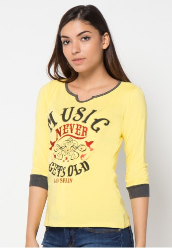 LOIS JEANS yellow ¾ Sleeve T-Shirt LO391AA35ITWID_1