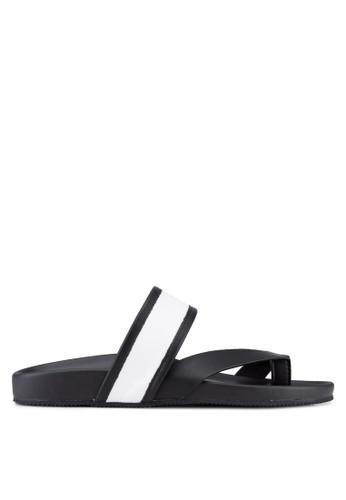 ZALORA black and white Contemporary Triple Strap Faux Leather Sandals E3485SH8FAEAF7GS_1