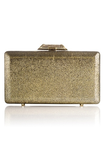 The Chic Initiative yellow and gold Tamara Metallic Leather Clutch (Gold) TH778AC0T0OFMY_1