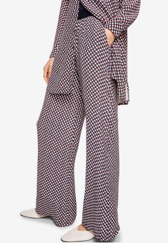 Mango blue Geometric Print Trousers 126F7AAF5DE42EGS_1