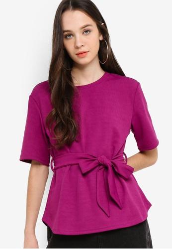 Something Borrowed 紫色 綁帶羅紋T恤 3F7B3AA4B715E4GS_1