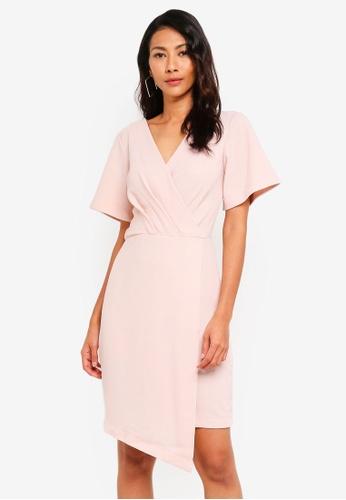 CLOSET pink Pleated Asymmetric Dress C86AFAAA2BDDD3GS_1