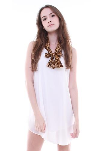 LUXORA white Leopard Print Collar White Dress LU926AA02VAZSG_1