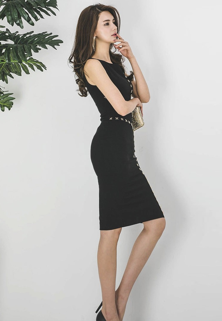 CA071827 Black New Bodycon Piece Sleeveless Black One Sunnydaysweety Dress 2018 0OvUB