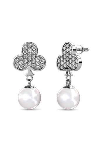 Her Jewellery silver Pearlie Club Earrings -  Embellished with Crystals from Swarovski® 90622AC47DA9E0GS_1