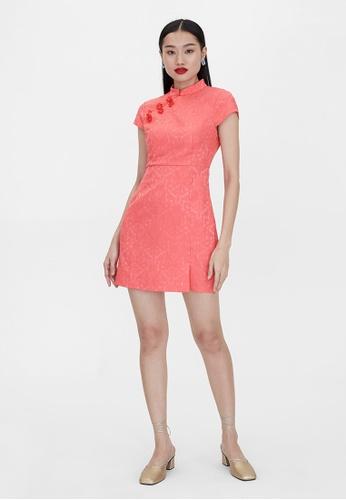 Pomelo pink High Neck Knot Button Dress - Pink 07B7EAA50874C1GS_1