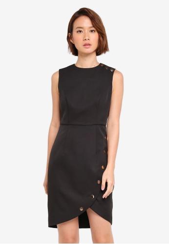 ZALORA black Button Contrast Dress F4B13AA106D78FGS_1