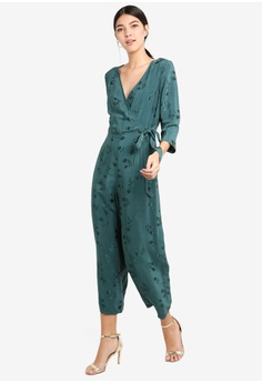 adae4cf893e 60% OFF Miss Selfridge Teal Self Tie Jacquard Jumpsuit RM 329.00 NOW RM  131.90 Sizes 6 8 10