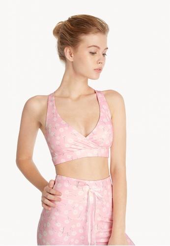 Pomelo pink Floral Criss Cross Back Sports Bra - Pink C67E4US694DA6EGS_1