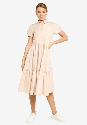 ck CALVIN KLEIN pink COTTON POPLIN DRESS 86732AAACD19E5GS_1