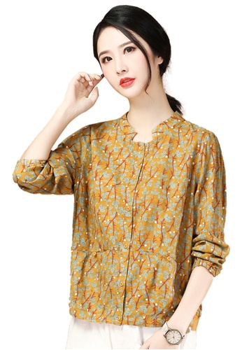 A-IN GIRLS yellow Stand Collar Floral Long Sleeve Blouse D7F89AA8F3BC36GS_1